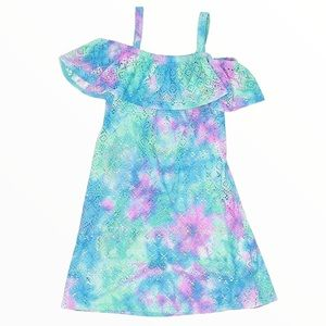 JUSTICE Tie-Dye Swim Cover Up Ruffle Front Dress Purple Girl 12